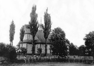 The outside view of the Neudorf church. The beginning of XX century picture.